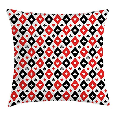 YVSXO Casino Throw Pillow Cushion Cover, Classical Game Pattern Gamblers Club Casino Theme Fortune Lucky Winner Poker, Decorative Square Accent Pillow Case, 18 X 18 inches, Black White Red