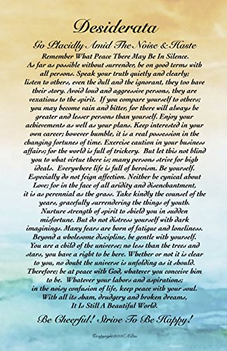 - Motivational Art, 11 X 17 Poster Desiderata Poem By Max Ehrmann Abstract Watercolor Ocean Sunset 11x17 Art Card