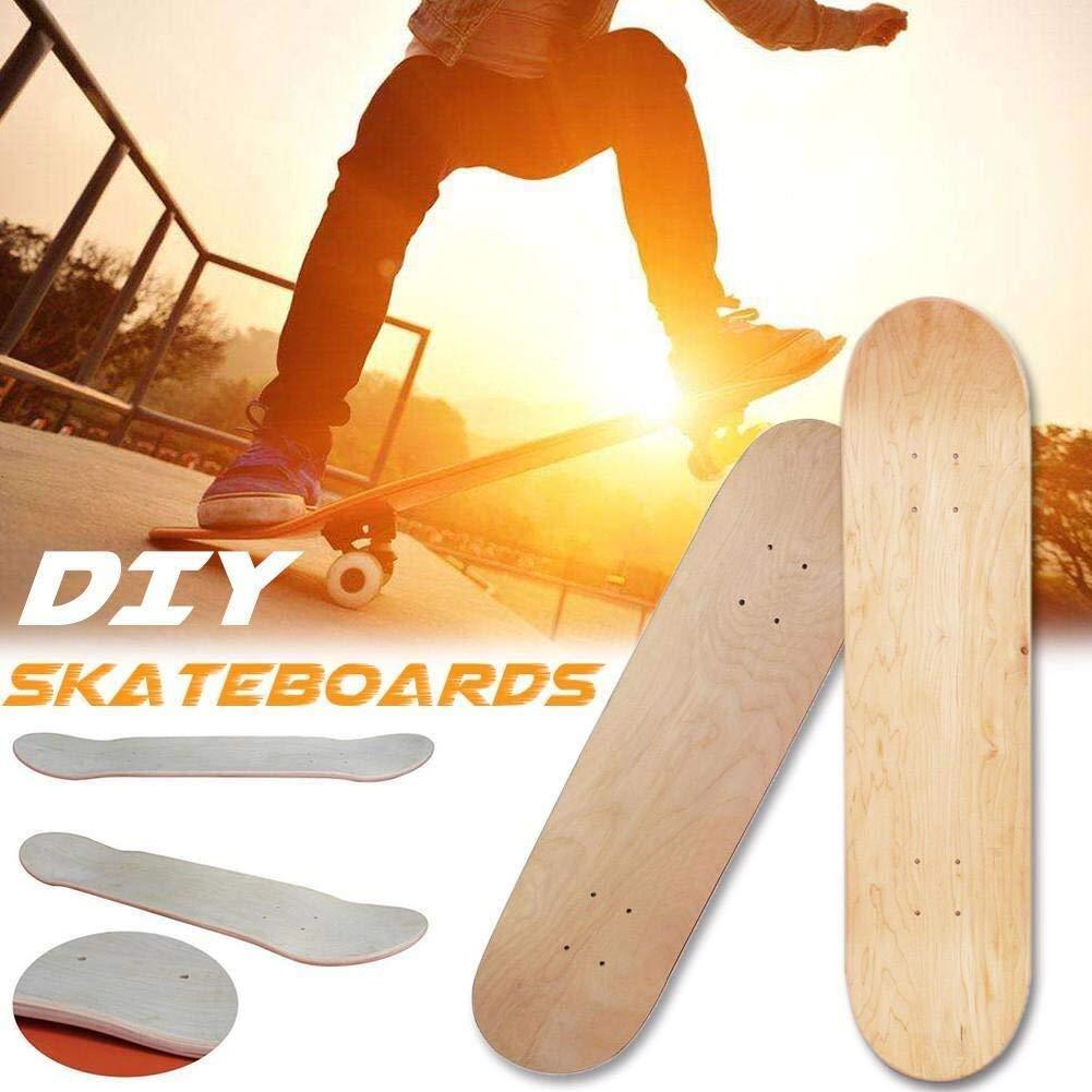 planche de skateboard en /érable haute /élasticit/é /à 8 couches enfants planche de skate naturelle peinte /à la main blanche Planche /à Roulettes Planche de skateboard 8 po for adultes double concave