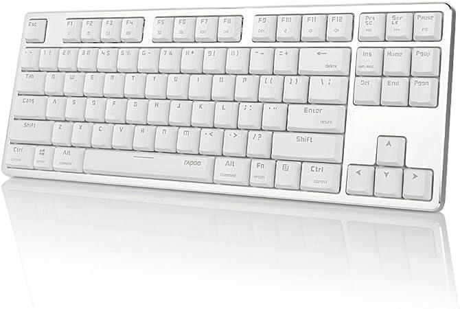 Rapoo MT500 - Teclado mecánico con retroiluminación blanca, diseño extraíble por USB, 87 teclas anti-ghost, extra delgadas y ligeras, interruptores ...