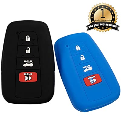 Lcyam Black Blue Soft Material Silicone 4 Buttons Key Fob Cover Case Fits for 2020 2020 2020 Toyota RAV4 XLE Camry Hybrid XSE Avalon Corolla Smart Key: Automotive