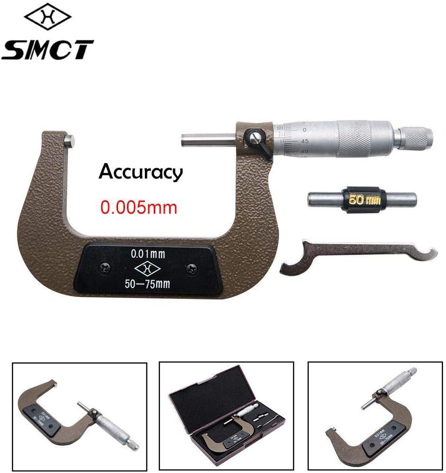 rango 50-75 mm precisi/ón 0,005 mm cromo satinado y mangas Micrometro externo MASO mec/ánico ingenier/ía exterior rosca micrometro