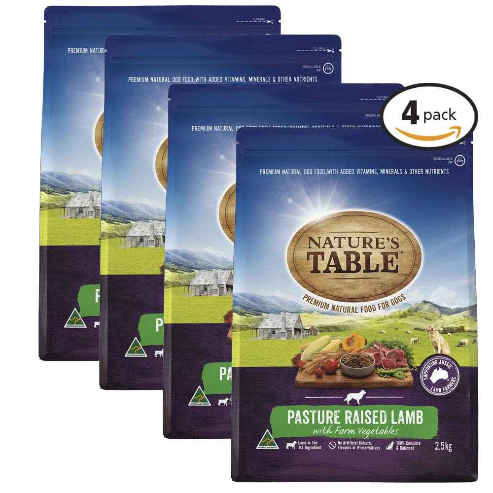 4 Pack NATURES TABLE Lamb with Vegetable Dry Dog Food 2.5kg Bag, 4 Pack