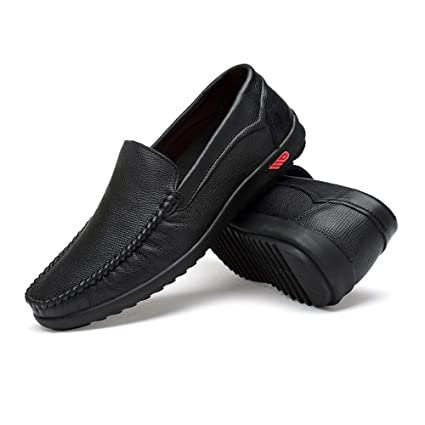 Jiuyue-shoes Conducción para Hombres Penny Loafers Bare Vamp Casual Boat Moccasins Suela de Goma