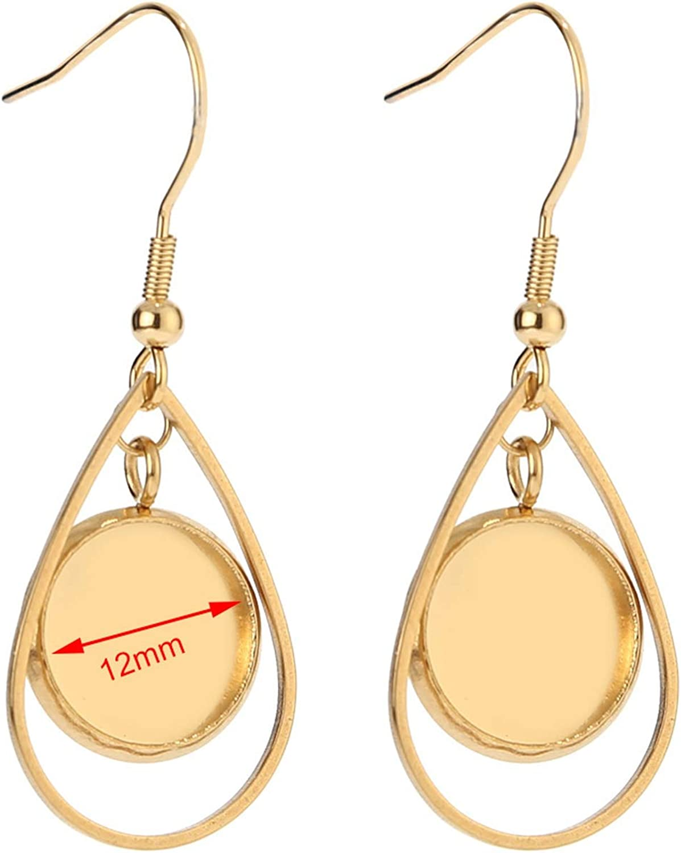 10pcs Trays Blank Drop Earring Hook Base Setting Jewelry Making Finding  DIY