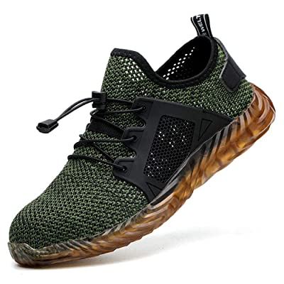 DYKHMILY Steel Toe Shoes Men and Women Breathable Mens Safety Work Shoes Puncture Proof Construction Sneakers(11, Army Green, C9001): Shoes