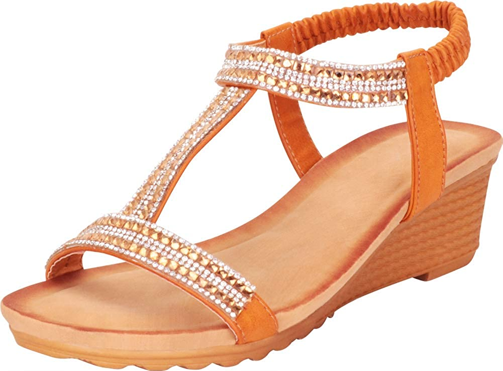 Tan Cambridge Select Women's T-Strap Crystal Rhinestone Stretch Slingback Low Wedge Sandal