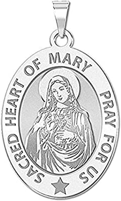 Custom Engraved Sacred Heart or Immaculate Heart of Mary Religious Medal Color 3