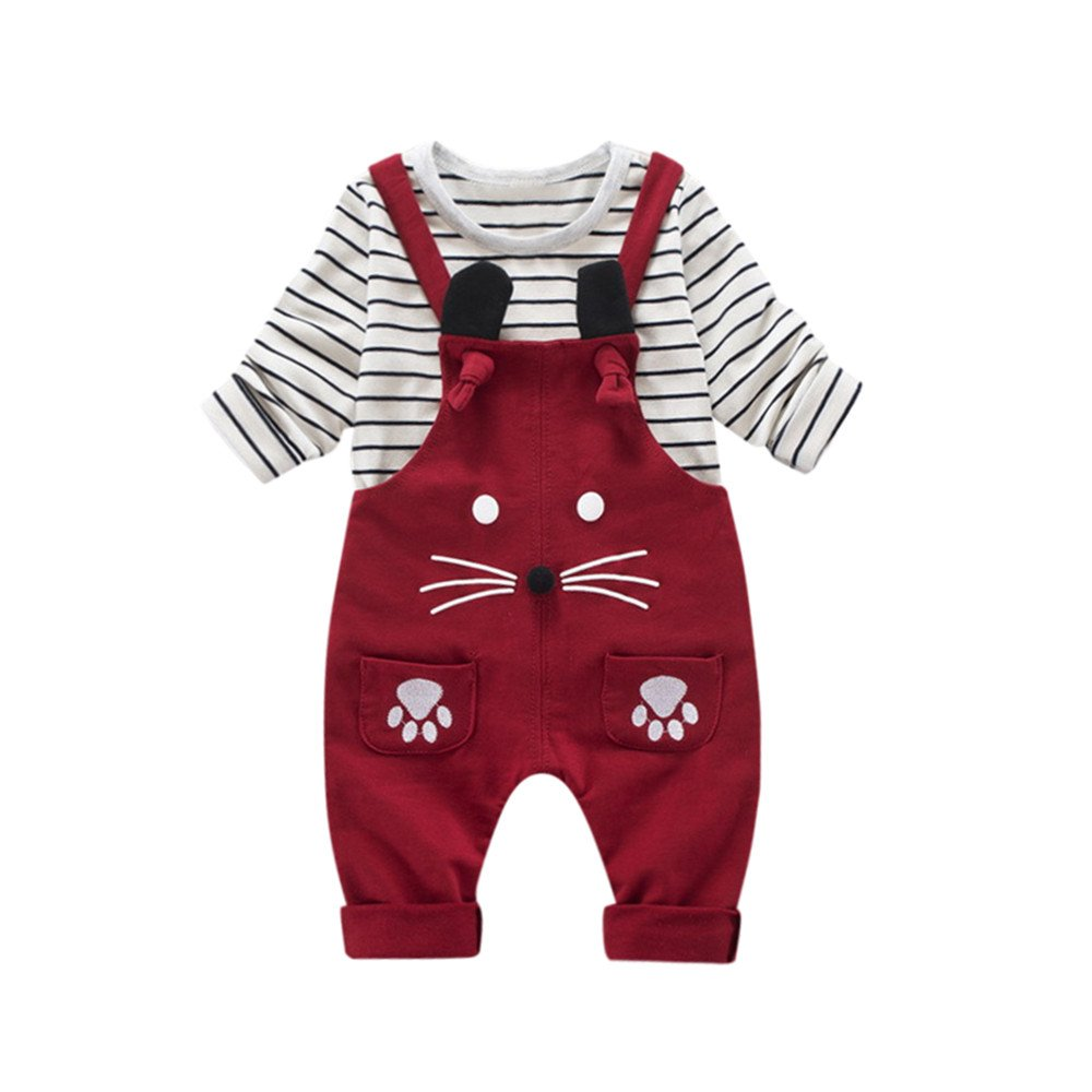 Mumustar Newborn Baby Clothes Set, Mumustar 2 PC Cute Cat Rollover + Long Sleeve Stripes Tops Aw Outfits Clothes 0-2 Years