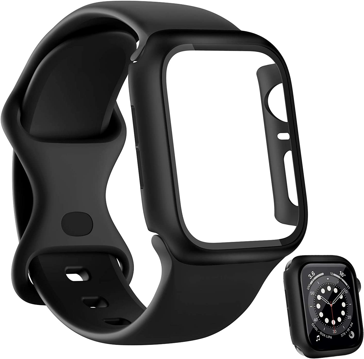 HAPAW Sport Bands Plus Hard PC Screen Protector Case Compatible with Apple Watch 44mm, Soft Silicone Replacement Strap Women Men Wristband Accessories for iWatch Series 6 5 4 SE