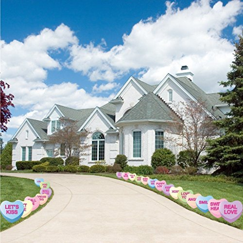 - VictoryStore Yard Sign Outdoor Lawn Decorations: Candy Heart Valentine's Day Pathway Markers - Set of 21