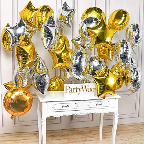 PartyWoo Star Balloons, 32 Pcs 18 Inch Gold Star Balloons Silver Balloons Round Balloons Mylar Balloons Foil Giant Balloon for Starry Night Decorations, Twinkle Twinkle Little Star Decorations