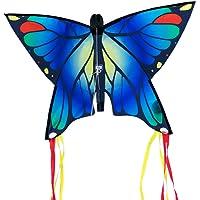 CIM Vlieger voor kinderen - Butterfly Blue - Dimensie: 58m x 40cm - Eenlijner - inclusief Vliegersnoer - vliegerkoord - voor kinderen vanaf 3 jaar - Vlinder
