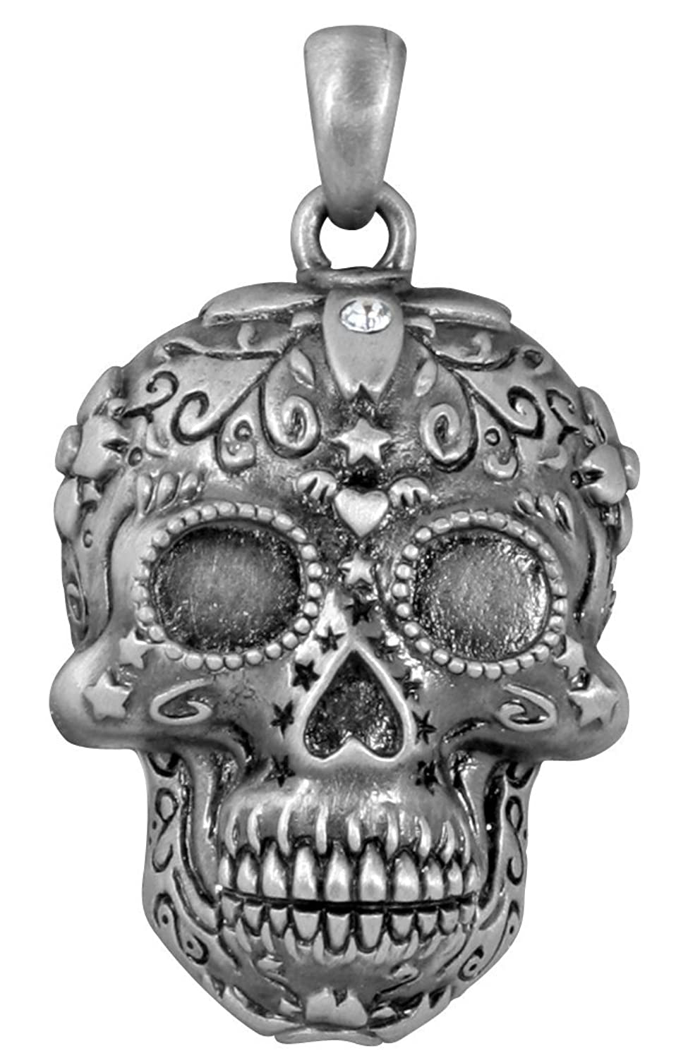 threaded skull pewter pendant metal sugar detail with crystal products swarovski