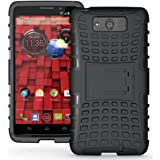 JKase DIABLO Series Tough Rugged Dual Layer Protection Case Cover with Build in Stand for Motorola Droid Ultra (Late 2013) XT1080 / Droid Maxx XT1080M - Retail Packaging (Black)