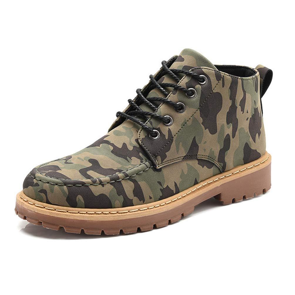 Männer Casual Stiefel Herbst Winter Leder Camouflage Walking Ankle Schuhe Herren Martin Stiefel (Farbe   Braun, Größe   9=43 EU)