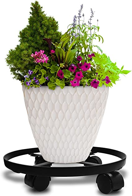 Indoor Garden Plant Container Accessories Black Yimobra 14 Inches Plant Caddy with Wheels Plant Stand Heavy Duty Flower Rustproof Metal Potted Holder Rack Outdoor