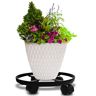 14  Metal Plant Caddy Heavy Duty Iron Potted Plant Stand With Wheels Round Flower Pot Rack on Rollers Dolly Holder on Wheels Indoor Outdoor Planter Trolley Casters Rolling Tray Coaster Black