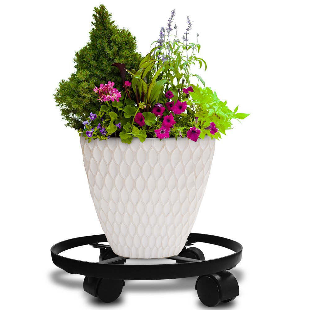 14'' Metal Plant Caddy Heavy Duty Iron Potted Plant Stand With Wheels Round Flower Pot Rack on Rollers Dolly Holder on Wheels Indoor Outdoor Planter Trolley Casters Rolling Tray Coaster Black