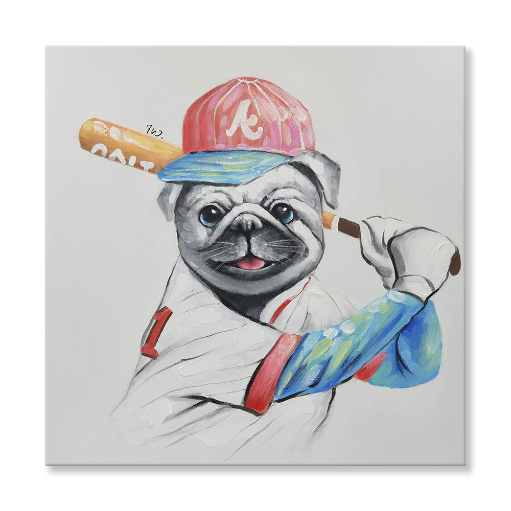 26ee459615c29 Amazon.com  SEVEN WALL ARTS - Modern Animal Painting Pug Dog Baseball  Player Funny Dog Artwork with Stretched Frame for Kids Room Decor 32 x 32  Inch  ...