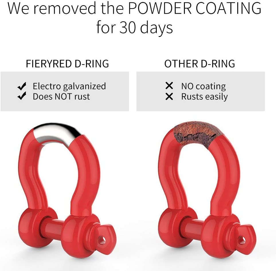 Winch /& Bubba Rope FieryRed 3//4 D Ring Shackle 22,046Ibs Break Strength with 7//8 Locking Pin and Red Isolator /& Washer Kits for use With Tow Strap 2 Pack