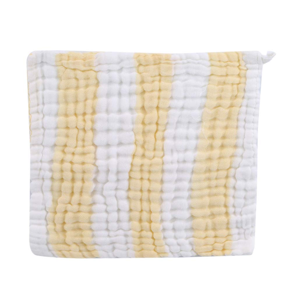 LIUCM 6 Layers of Gauze Saliva Baby Towel Cotton Color Baby Small Square Towel Yellow White Strip