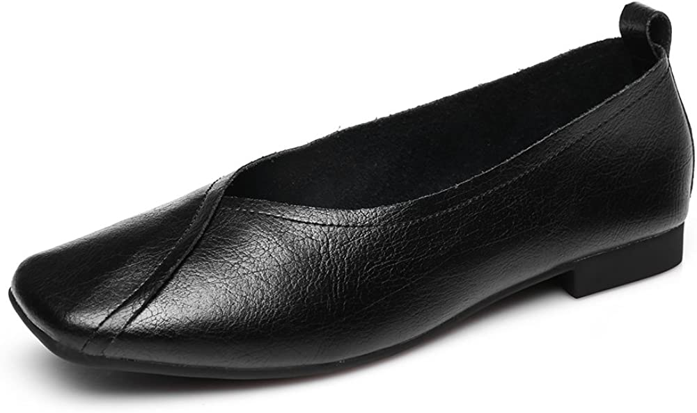 8.5 B Penny Loafers Shoes Casual Flats Genuine Leather Shoes for Ladies M US, Black