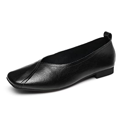 Womens Square Toe Comfort Driver Flat Slip-on Loafer Oxfords Leather Casual Shoe(7