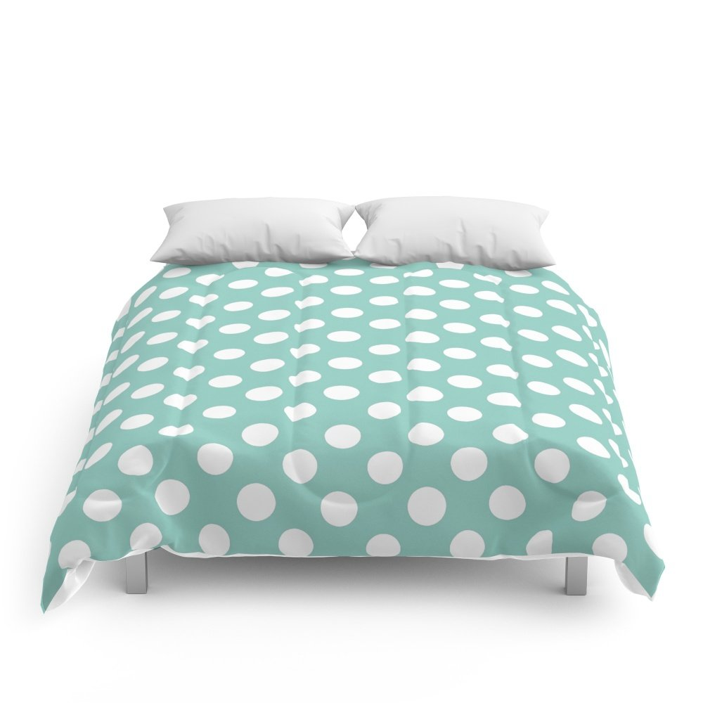 Society6 Beautiful HOME- Girls Just Wanna Have Dots - Turquoise Comforters Queen: 88'' x 88''