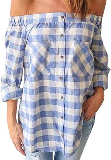 Camisa De Trabajo De Blusa De Mujer Camisas A Cuadros Verano Vintage De con Bolsillos Camisa