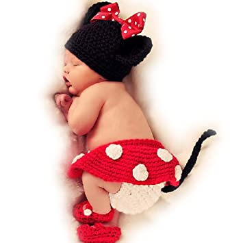 Baby Girls Boy Newborn 9m Knit Crochet Mickey Mouse Style Clothes