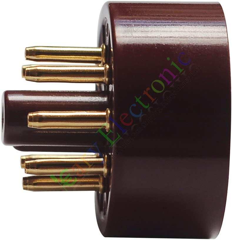 Cayyi 4pc 8Pin Red Gold Bakelite Vacuum Tube sockets Saver Fr 6L6 EL34 KT88 audio amp