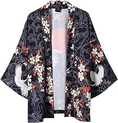 LHWY Camisa de Hombre Blusa con Mangas japonesas de Cinco Puntos de Kimono para Hombre y para Mujer T Shirt tee Blusa: Amazon.es: Ropa y accesorios