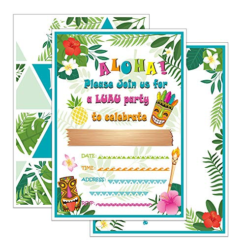 WERNNSAI Hawaiian Aloha Luau Party Invitations with Envelopes - 20 Set Summer Pool Tropical Birthday Baby Shower Tiki Party Supplies Invitation -
