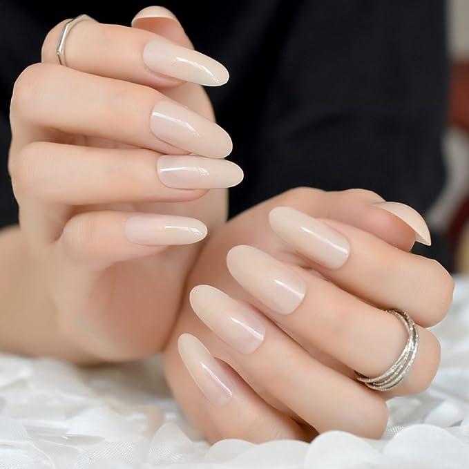 EchiQ - Puntas de uñas postizas ovaladas y redondas de gel UV para uñas postizas, color beige: Amazon.es: Belleza