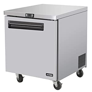 Commercial Single Door Undercounter Freezer - KITMA 7 Cu. Ft Stainless Steel Worktop Freezer for Kitchen, 0°F - 8°F