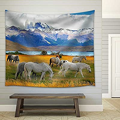 Created By a Professional Artist, Pretty Technique, Beautiful White and Gray Horses Grazing in a Meadow Near The Lake on The Horizon Towering Cliffs Torres Del Paine Fabric Wall