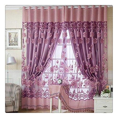 Litetao Bedroom Curtain, 250cmx100cm Print Floral Voile Door Curtain Window Room Curtain Divider Scarf (Size (L x W): 250cm x 100 cm/78.74'inch x 39.37'i, Hot (Voile Tour Light)
