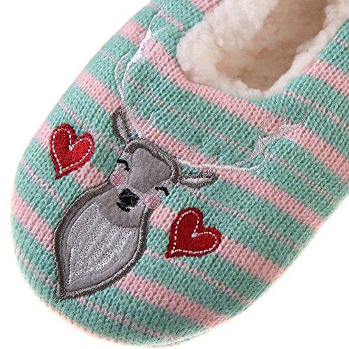 Slipper Green Girls Soft Winter Cartoon Lined Deers Fuzzy Women Dosoni Fleece Super Home Animal Bq4xPBFpw