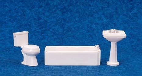 "Miniature Dollhouse 3//4/"" scale Bathroom Pedestal Sink White Wood"