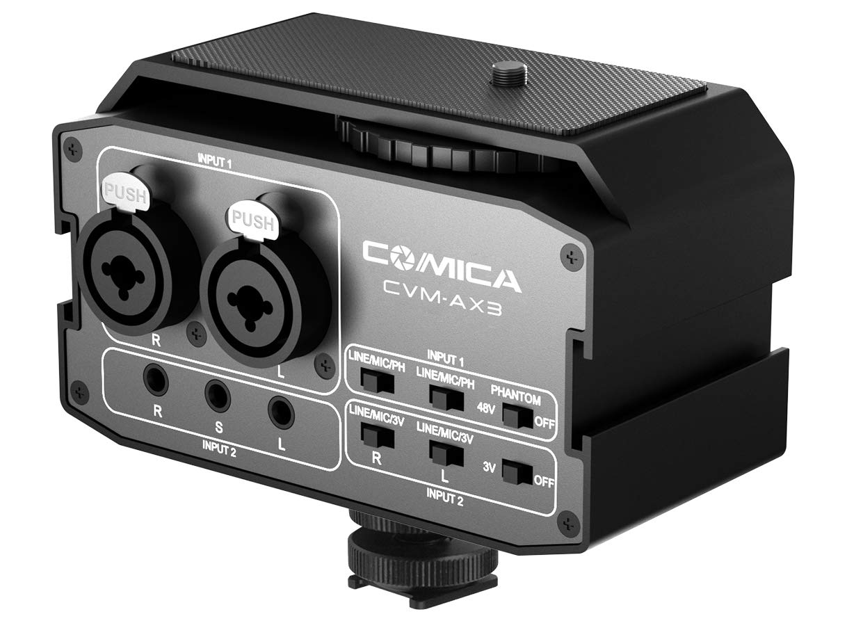 XLR Audio Mixer,Comica CVM-AX3 Audio Mixer Adapter Preamplifier Dual XLR/3.5mm/6.35mm Port Camera Mixer for Canon Nikon Sony Panasonic DSLR Camera Camcorder (Support Real-time Monitoring) by comica