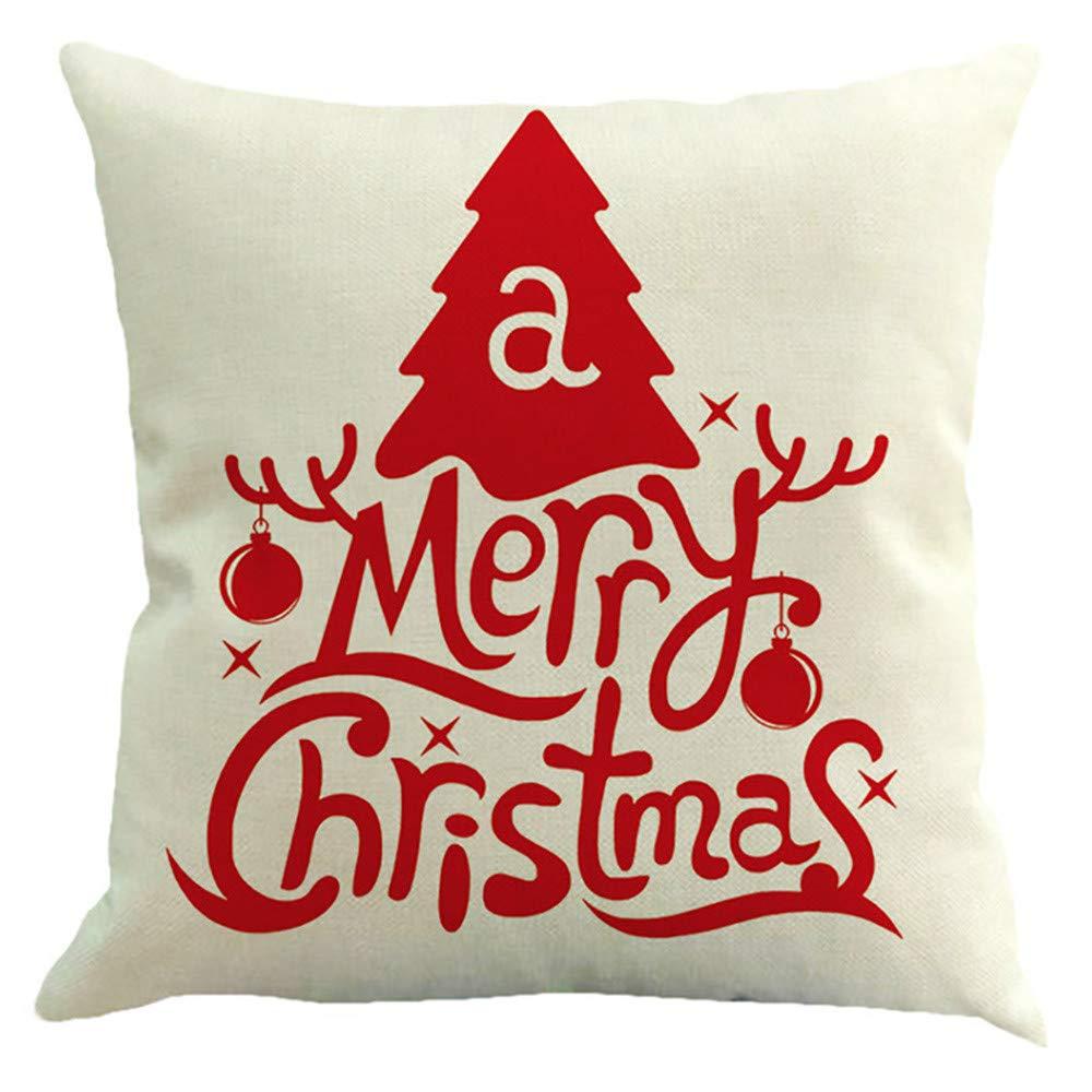JiaMeng Funda Cojin Almohada, 4PC Funda de Almohada del sofá de la Caja de Almohada de la Feliz Navidad Funda de Almohada geométrica Simple 45cm x 45cm: ...