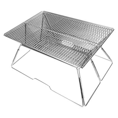 ZAMAX Portable Foldable Charcoal Grill Barbecue BBQ, Stainless Steel Folding BBQ Kabab Grill, Tabletop Grill Hibachi Grill for Shish Kabob Home Garden Cooking Small Grill: Kitchen & Dining