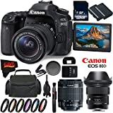 Canon EOS 80D DSLR Camera + 18-55mm Lens + Sigma 24mm f/1.4 DG HSM Art Lens + 128GB Memory Card International Version