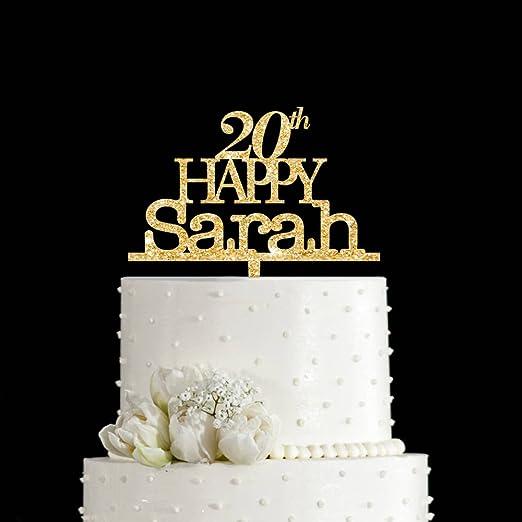 Admirable Amazon Com Kiskistonite Happy Birthday 20Th Sarah Cake Topper Funny Birthday Cards Online Benoljebrpdamsfinfo