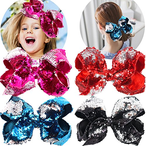 Boutique Glitter Reversible sequins 8 Inch Bows For Girls Hair Bow Clips For Baby Girls Teens Kids Toddlers 4 Colors Reversible Sequins (Bow Large Sequin)
