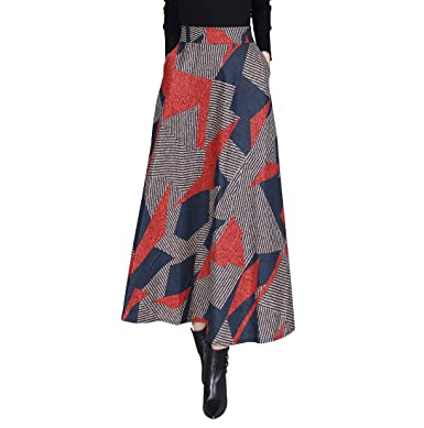 84d1ddb96d Women's Elegant Vintage Elastic Waist Stripe Lattice Woolen Long Skirt  Girls Wool A-Line Autumn
