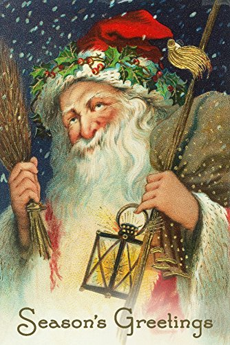 Seasons Greetings - Santa Holding Lantern - Vintage Postcard (36x54 Giclee Gallery Print, Wall Decor Travel Poster)