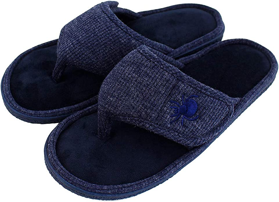 DL Mens Slippers Adjustable Open Toe Slippers for Men Memory Foam House Shoes Home Slippers with Indoor Outdoor Anti-Slip Rubber Sole