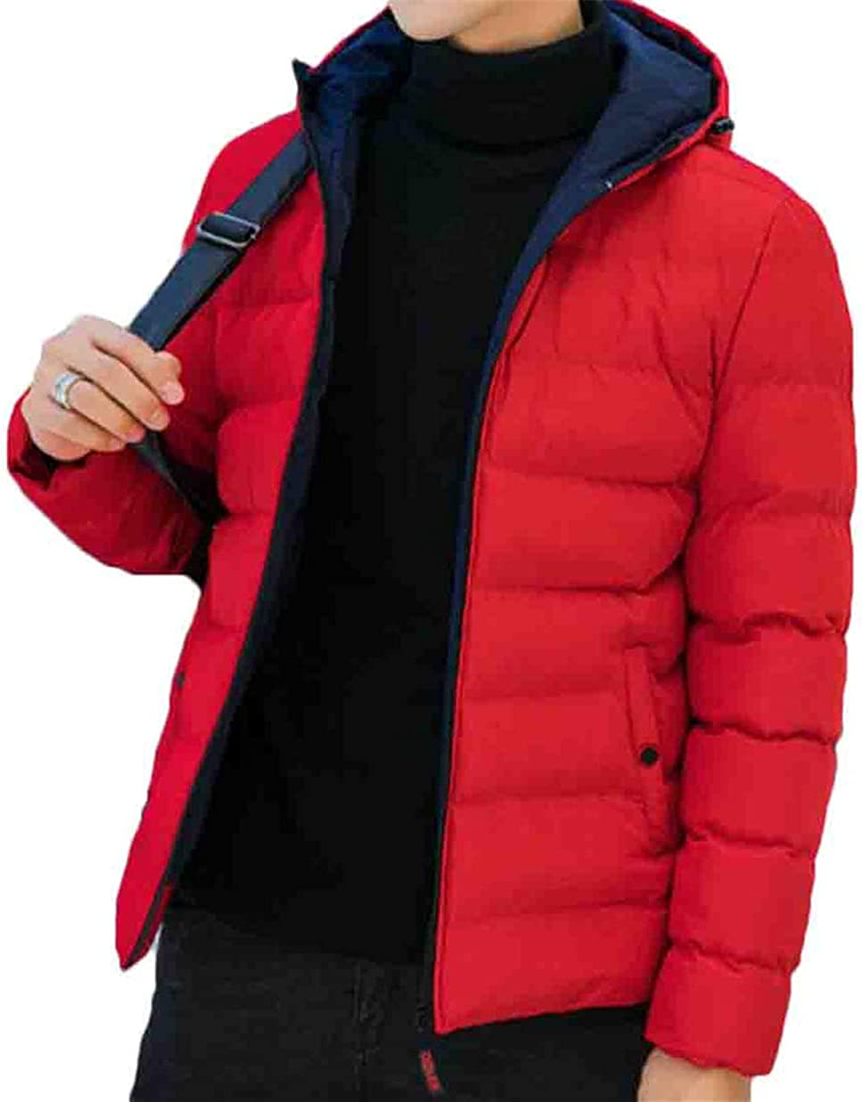 Twcx Mens Hooded Outwear Zip-Up Solid Quilted Padded Casual Thicken Winter Down Puffer Jacket
